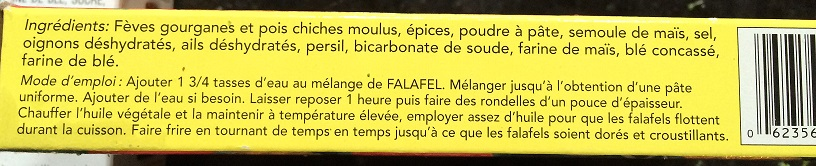 ingrédients de mix à falafel
